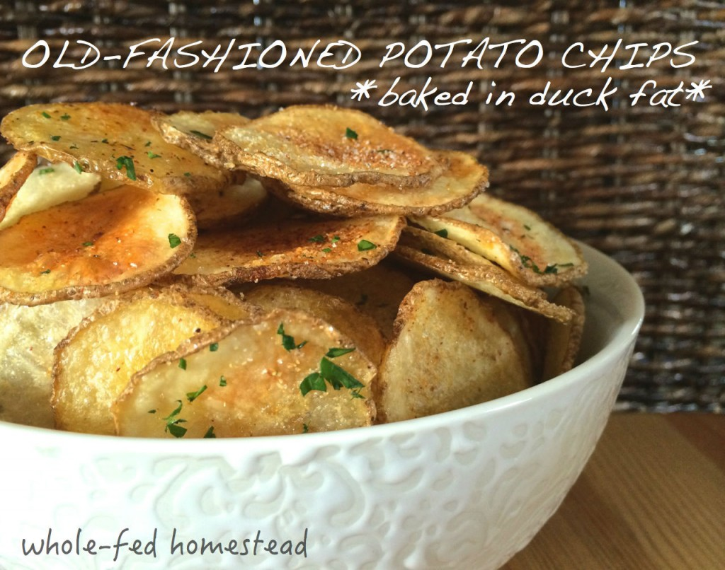 duck fat homeade potato chips w words