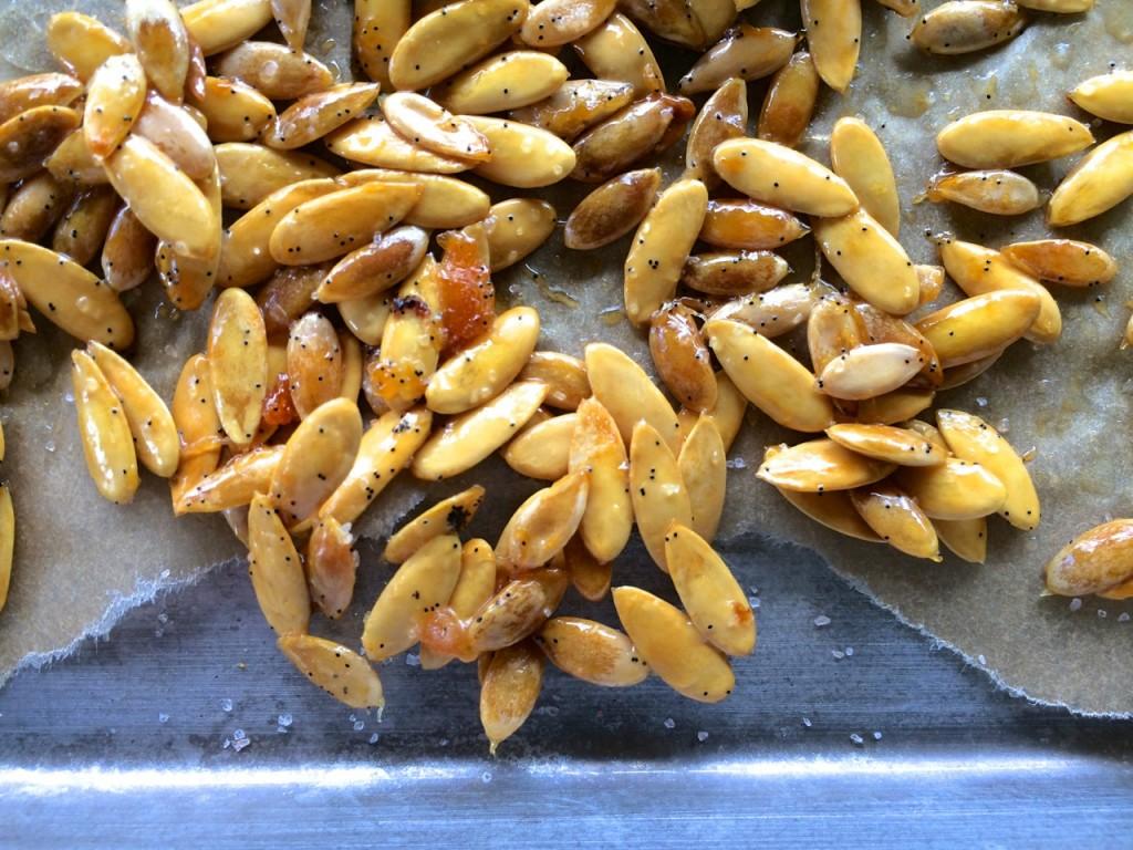 roasted baked honey dew cantaloupe melon seeds healthy fall treat