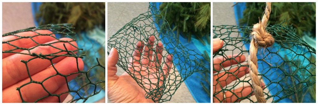 making wire cage and tying rope