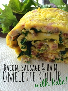 Bacon, Sausage & Ham Omelette Rollup with Kale