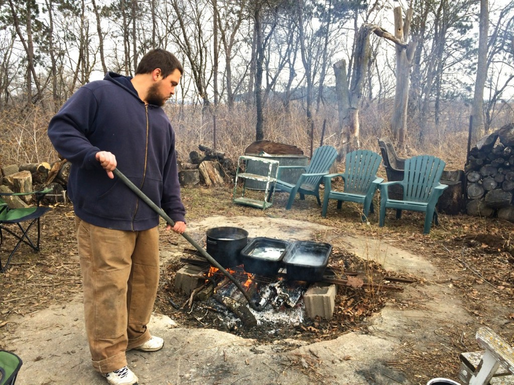 Karl boiling maple, Whole-Fed Homestead: The Homestead Monthly: February & March- a farm update.