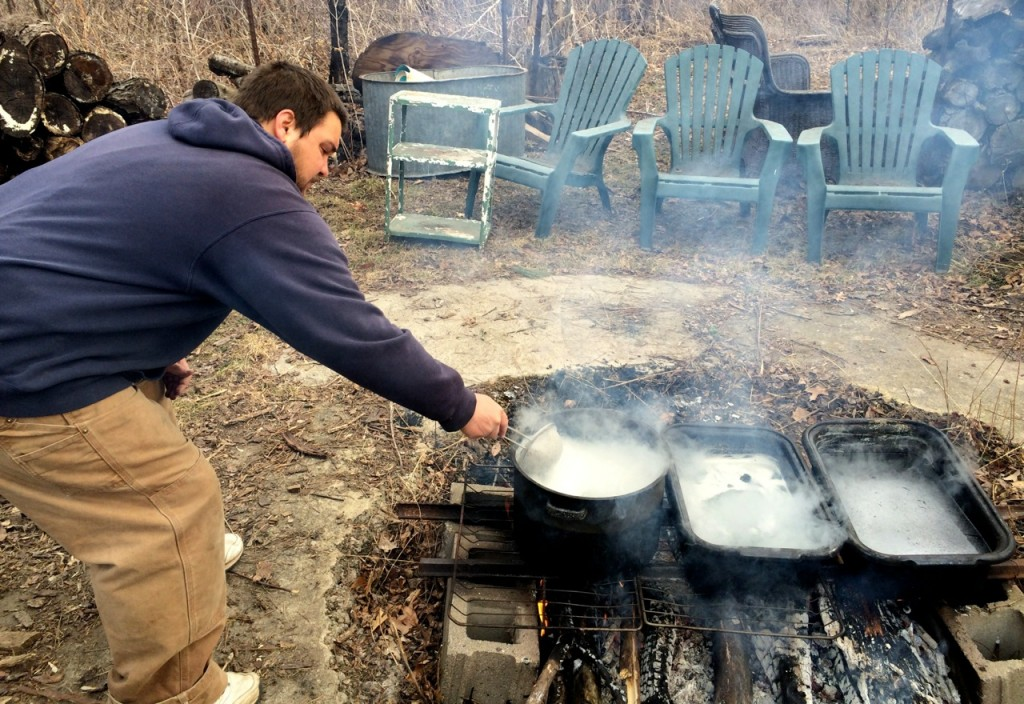 Skimming foam off of boiling maple sap: Small Batch Maple Syrup-Making: You Only Need 1 Tree! How to make maple syrup at home without sugar maples. Whole-Fed Homestead