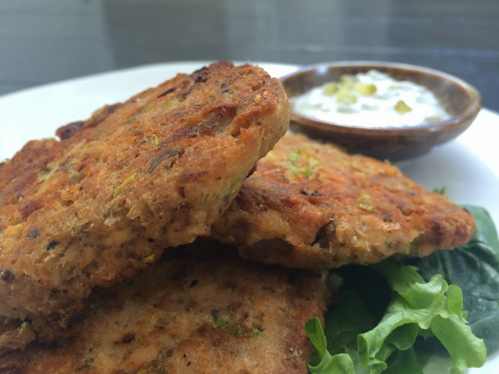 Salmon Patties with Dill Pickle Sauce by Whole-Fed Homestead. Gluten-free, grain-free, paleo friendly quick dinner using healthy canned salmon.