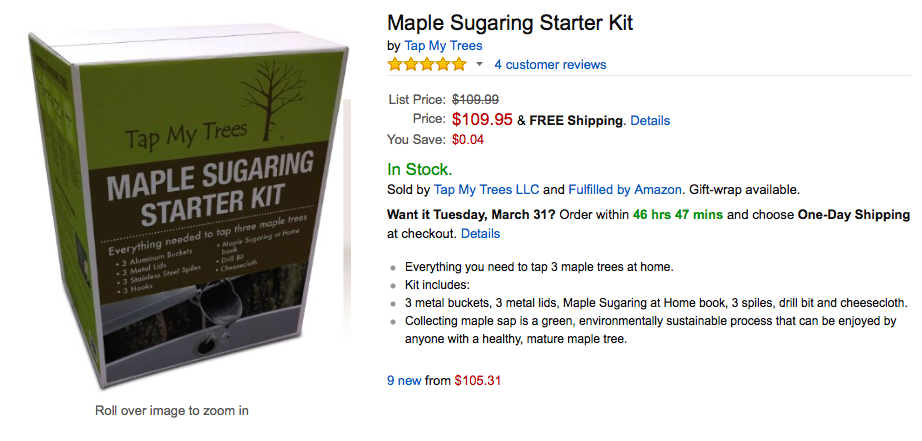 Maple sap syrup collection kit