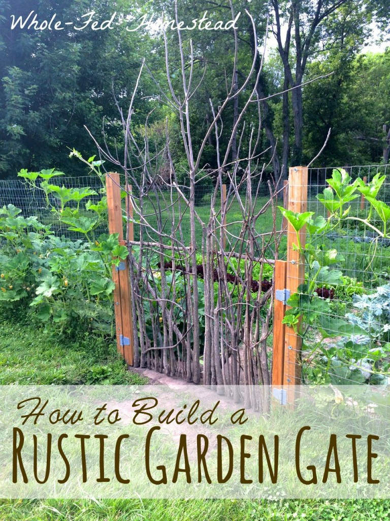 How to Build a Rustic Garden Gate; How to build a rustic garden gate from scratch (for cheap!) using sticks and small trees. The ultimate repurposing to build a garden or orchard door! | Whole-Fed Homestead