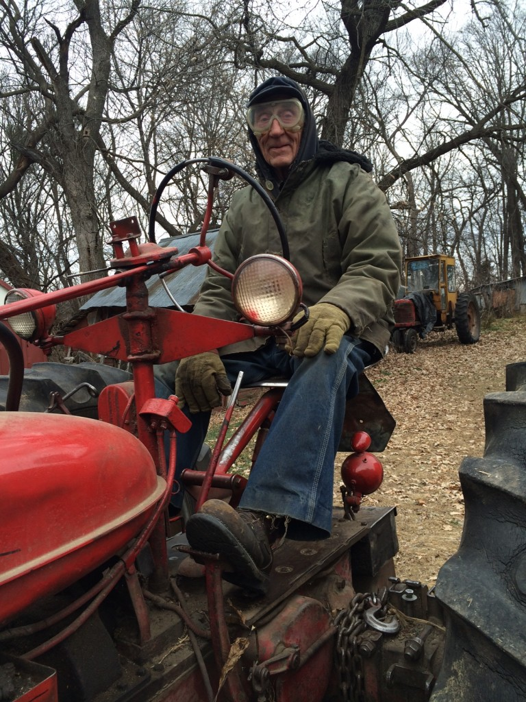 grandpa on tractor, Whole-Fed Homestead Monthly Update November 2015 | Gardening - Chickens - Ducks - Foraging - Real Food