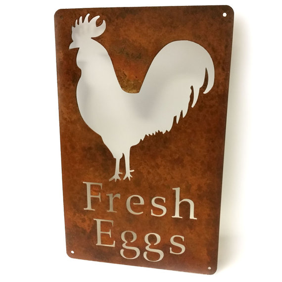 fresh eggs steel sign