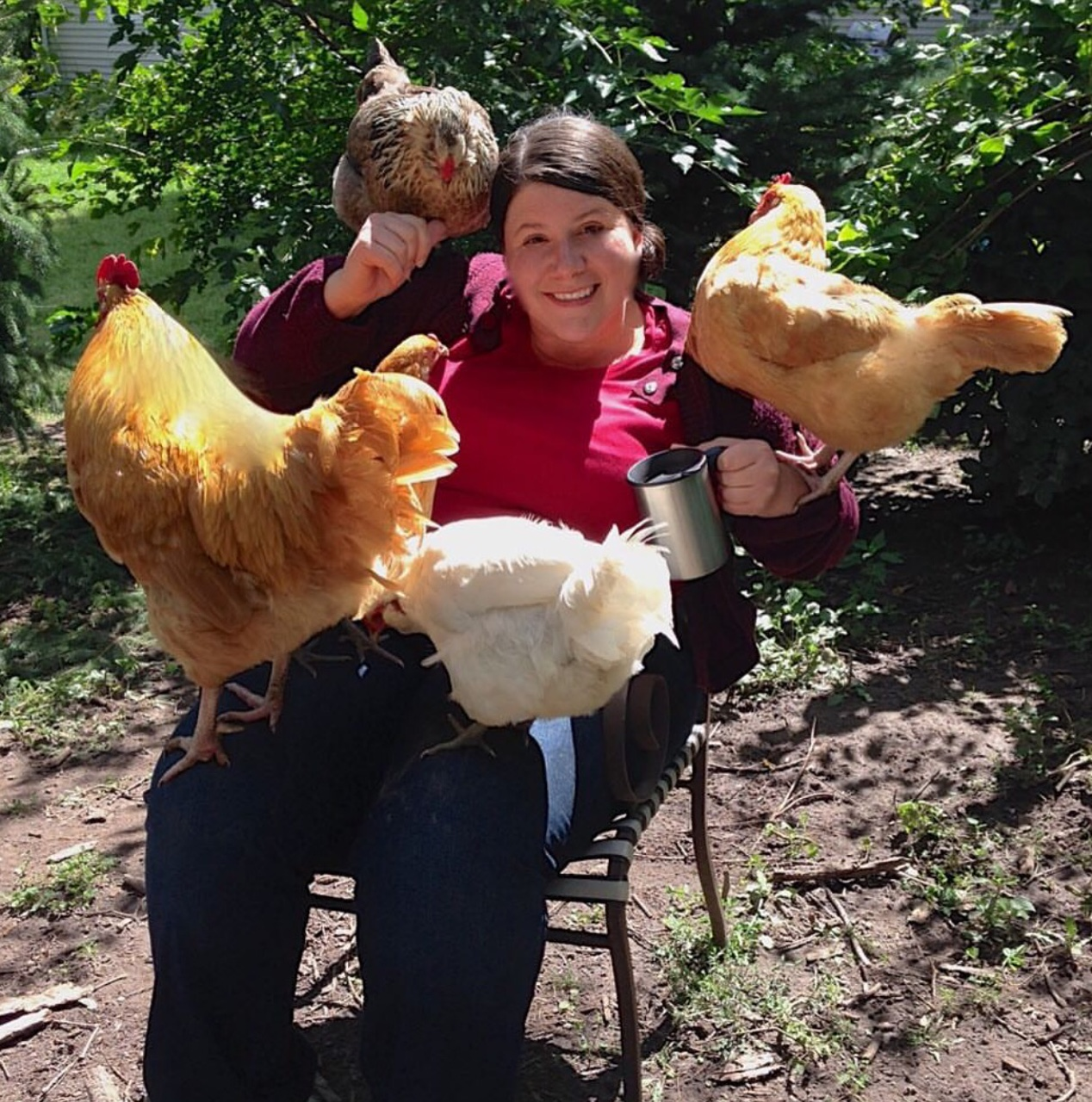 Crazy chicken lady ambushed by chickens