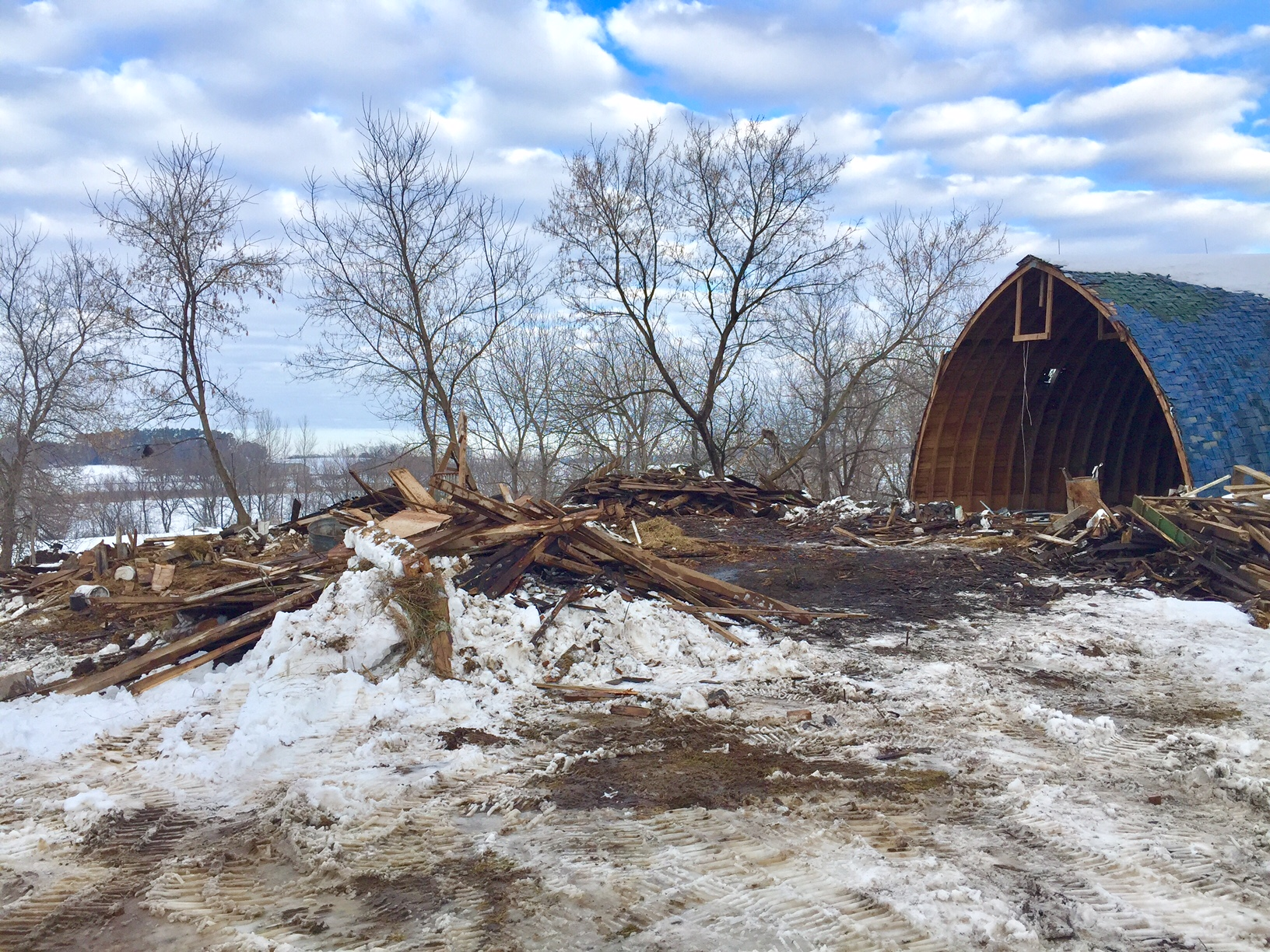 old barn demolition