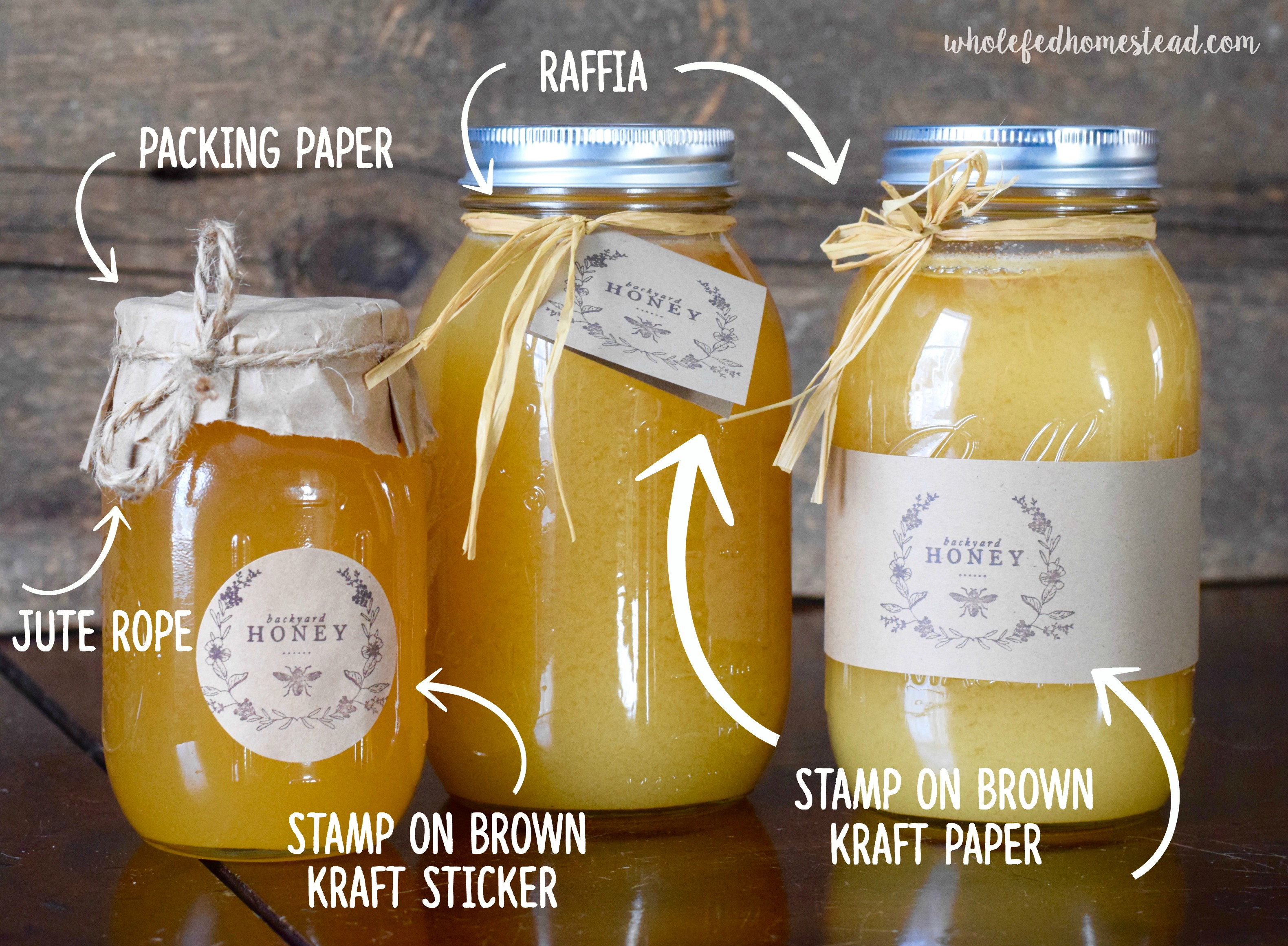 rustic honey jar packaging labels, How to Package, Store, and Sell Honey, plus Creative & Inexpensive Honey Labels | Whole-Fed Homestead