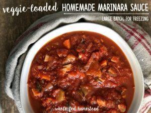 Veggie-Loaded Homemade Marinara Sauce (Large Batch for Freezing)