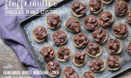 Fluffernutter Chocolate Peanut Clusters with Homemade Maple Marshmallows